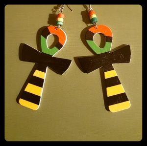 👑Afro-Centric Wooden Ankh Earrings👑